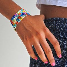 Items similar to Colorful Bead Loom Bracelet on Etsy