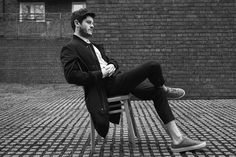 Iwan Rheon for The Laterals, 2016 | Coat by ZARA, Shirt & trousers by MATTHEW MILLER, Shoes by WHISTLES, Bracelet by MIANSAI.