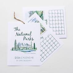 Edition #1 National Park 2016 Calendar by ErinVaughan on Etsy https://www.etsy.com/listing/234815664/edition-1-national-park-2016-calendar