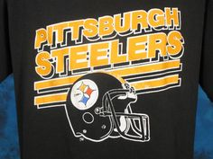 vintage 80s PITTSBURGH STEELERS LOGO 7 PAPER THIN T-Shirt LARGE football nfl  | eBay