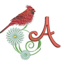 """Red Bird Alpha"" presents twenty-six alphabet monograms with sweet male Cardinal. Embroidery Monogram, Embroidery Applique, Machine Embroidery Designs, Monogram Letters, Rooster, Alphabet, Daisy, Birds, Lettering"