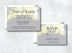 Printable DIY Gray & Yellow Neutral Wedding Invitation - Custom Wedding Invitation Set Including Invitation and RSVP on Etsy, $40.00