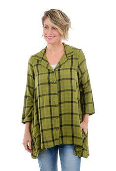aea44d7e8ab Fenini Plaid Swing Shirt, Palm Green Palm, Men Casual, Tunic Tops