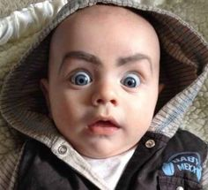 Reasons Why Kids Should Not be Left Alone with Their Dads- haha Baby Eyebrows, How To Draw Eyebrows, Drawing Eyebrows, Babies With Eyebrows, Funny Kids, Funny Cute, The Funny, That's Hilarious, Super Funny
