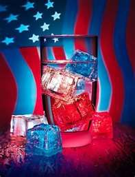 Red, white and blue ice cubes