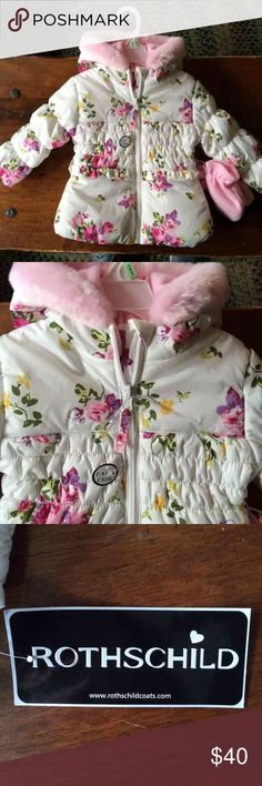 White floral winter coat w/ pink gloves. White floral winter coat w/ pink gloves. New, never worn. Rothschild insulated jacket Weather-resistant exterior (100% polyester) Quilted insulation (100% polyester) Partial fleece lining (100% polyester) Full zipper with hook-and-loop placket Faux fur trim at hood (80% acrylic, 20% polyester) Ruffle trim Machine wash cold I Rothschild Jackets & Coats Puffers