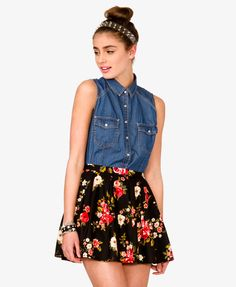 Sleeveless Chambray Shirt + Floral Skirt | FOREVER21