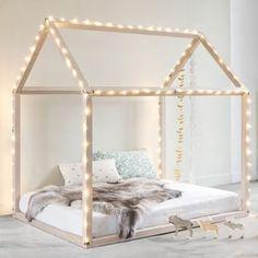 House Frame Bed & String Lights | DIY