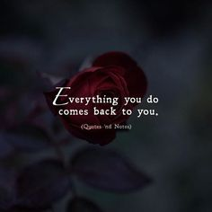 Quotes 'nd Notes — Everything you do comes back to you. —via...