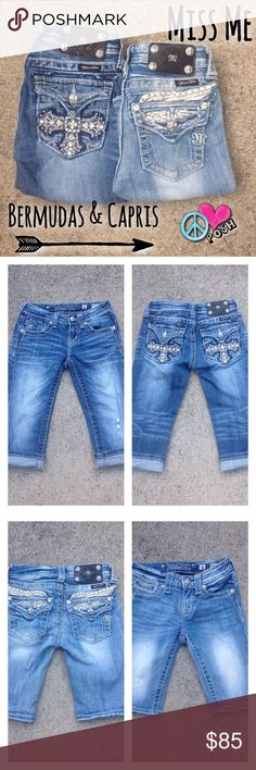 (2) Pair Miss Me GIRLS Capris & Bermudas 💎👑💟 Selling together ☮ (2) Pairs Miss Me Girls  Capris & Bermudas Both are Size Girls 8 Both are Light Wash w/ Bling ☮💗 Gently Preloved Condition  ☮💗  ❌❌❌ NO TRADE ❌❌❌ Miss Me Bottoms