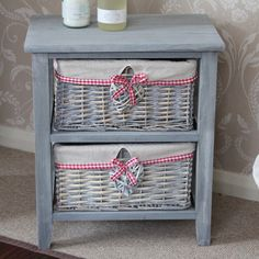 Amour Range - Grey Wooden 2 Drawer Wicker Storage Unit