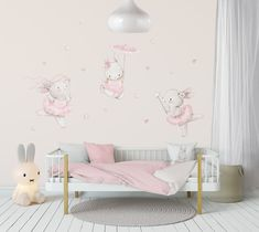 Nursery Wall Stickers, Nursery Art, Girl Nursery, Ballerina Nursery, Girl Bedroom Designs, Bedroom Ideas, Watercolor Walls, Baby Room Decor, Textured Walls