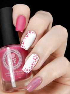 There are nail designs that include only one color, and some that are a combo of several. Some nail designs can be plain and others can represent some interesting pattern. Also, nail designs can differ from the type of nail… Read more › Classy Nails, Cute Nails, Pretty Nails, My Nails, Pink Nails, Dot Nail Art, Polka Dot Nails, Polka Dots, Classy Nail Designs