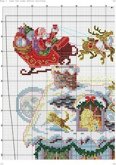 Twas the night before (stitch the sleigh by itself for an ornament? Santa Cross Stitch, Cross Stitch Christmas Stockings, Cross Stitch Stocking, Cross Stitch Angels, Xmas Stockings, Cross Stitch Samplers, Christmas Cross, Cross Stitch Charts, Cross Stitch Designs