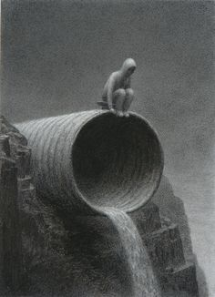 Drain Pipe    Aron Wiesenfeld ©2010, charcoal on paper, 14x10 inches www.aronwiesenfeld.com