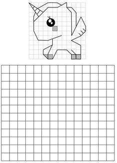 licorne poupée _ reproduction sur quadrillage, géométrie dessin reproduction sur quadrillage activité de repli, autonomie, cycle 2, cycle 3 Math Resources, Activities For Kids, Perspective Drawing Lessons, Pixel Drawing, Graph Paper Art, Math Art, Art Lessons Elementary, Science Experiments Kids, Math For Kids