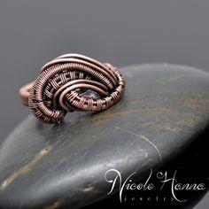 Iolite Copper Wire Wrap Ring