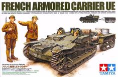 Buy Tamiya French Armoured Carrier UE Model Kit at Mighty Ape NZ. The French Armoured Carrier UE was a tracked vehicle designed to carry supplies to the front lines and tow light artillery Its low, compact hull feat. Military Figures, Military Weapons, Military Art, Military Uniforms, Tamiya Model Kits, Tamiya Models, Panzer Iv, Jeep Willys, Luftwaffe