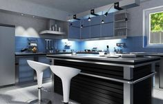 This ultra modern kitchen is awash in blue and silver tones, anchored by large black and metal island. Blue tile backsplash and cupboard doors pair with aluminum accents.