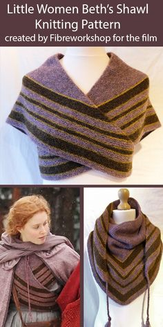 Shawl Knitting Pattern for Little Women - Beth's Shawl actual design from movie Designed for Little Women 2019 by Fibreworkshop, Beth's Shawl is a heart shaped striped shawl worked in garter stitch with an icord edging. Loom Knitting, Free Knitting, Knitting Patterns, Knitting Designs, Knitting Scarves, Knitting Ideas, Tricot Simple, Costura Diy, Knitting For Beginners
