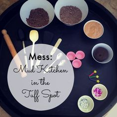 M is for Mud Kitchen Tuff Spot Mud Kitchen in the Tuff Spot with four different muds; fluffy stuff, dirt dough, shaving foam and playdough; all chocolate scented Purple Crafts, Tuff Spot, Tuff Tray, Mud Kitchen, Chocolate, Crafts For Kids, Shaving, Forest School, Eyfs