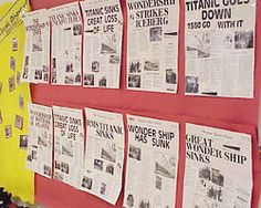 Students create a front-page newspaper article and layout, including photos, about the sinking of the Titanic. Newspaper Front Pages, Newspaper Article, Titanic Art, Halifax Explosion, Front Page News, Education And Literacy, 4th Grade Reading, Informational Writing, Library Lessons