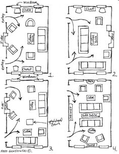 arranging furniture 12 different ways in the same room