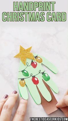 HANDPRINT CHRISTMAS CARD - an easy Christmas card kids can make! Adorable if you're looking for Christmas crafts for kids. Perfect for toddlers, preschool or kindergarten too! for kids Handprint Christmas Card Kids Crafts, Diy Crafts For Kids Easy, Fun Diy Crafts, Toddler Crafts, Easy Diy, Kids Diy, Craft Kids, Stick Crafts, Summer Crafts
