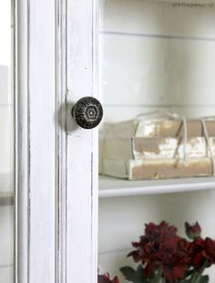 Goodwill antique china cabinet makeover with Chalk Paint and shiplap for a fresh farmhouse look - DIY tutorial by Girl in the Garage Painted Curio Cabinets, Antique China Cabinets, Painted Hutch, Chalk Paint Furniture, Cabinet Furniture, Furniture Makeover, Dresser Makeovers, Furniture Design, Chalk Paint Colors
