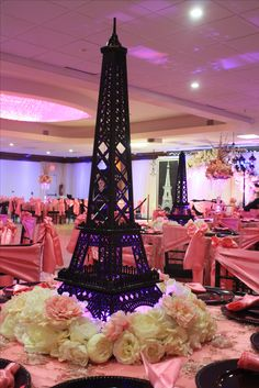 Black And Pink Paris Theme Sweet Sixteen Centerpiece Paris Theme Centerpieces, Book Wedding Centerpieces, Paris Party Decorations, Sweet 16 Centerpieces, Quinceanera Centerpieces, Centerpiece Ideas, Sweet 16 Party Themes, Paris Sweet 16, Paris Themed Birthday Party