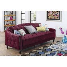 Vintage Tufted Sofa Sleeper Living Room Burgundy Velour  9 by Novogratz NEW