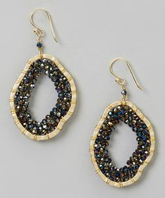 Look at this #zulilyfind! Gold & Montana Stone Pendant Earring #zulilyfinds