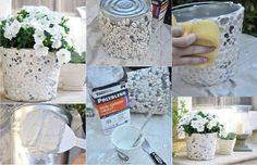 Macetas hechas con latas, enduido y piedras... hermosa!