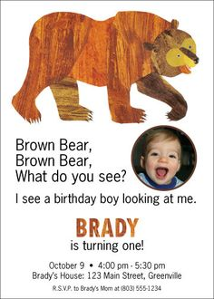 Brown Bear Brown Bear Invitation by cutelittlebug on Etsy, $20.00