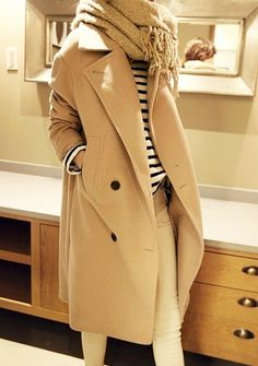 Classic Combo: A Neutral Coat And Stripes