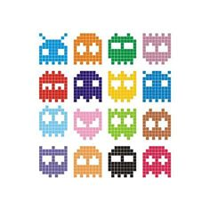size: Art Print: Pixel Monster Icon by Lazyvector : Easy Pixel Art, Pixel Art Grid, Pixel Pattern, Pattern Art, Geometry Pattern, Pixel Art Animals, Pony Bead Animals, Loom Beading, Beading Patterns