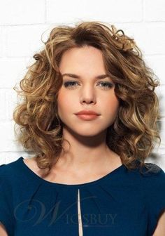 Loose Medium Curly Glueless Lace Front Wig 100% Human Hair 14 Inches. Golden brown.