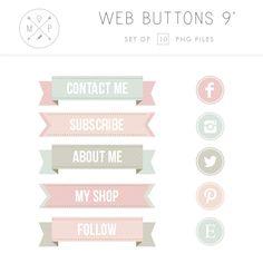 Ribbon Blog Buttons Vintage Social Media by mlekoshiPlayground, $6.00