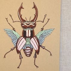 Screen print. stag beetle. Split fountain