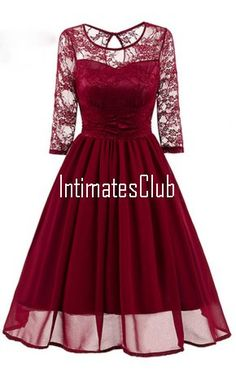 Burgundy Simple A-Line Scoop Lace Cute Summer Women Short Homecoming Dresses
