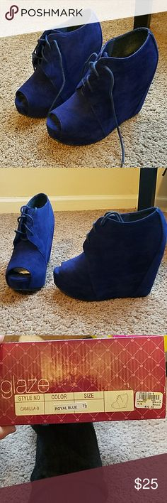 Shoes Royal Blue Suede Peep-toe Wedges Gently used, great condition (worn once) Very comfortable due to the wedge supporting the foot Easy to walk in  The size is 7.5 but they run a little big. I normally wear an 8 and they fit me comfortably. Glaze Shoes Wedges