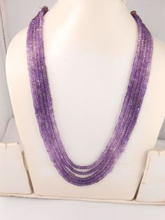 AAA-Necklace-Amethyst-Faceted-Rondelle-Gemstone-Beads-16-to-19-long-5-strand