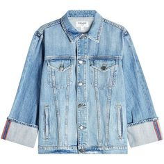 Frame Denim Oversized Denim Jacket ($550) ❤ liked on Polyvore featuring outerwear, jackets, coats, chaquetas, blue, oversized jacket, blue jackets, jean jacket, oversized denim jacket and denim jackets