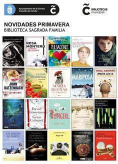 Novidades literarias de primavera,  xa dispoñibles na Biblioteca Municipal Sagrada Familia, a partir do 1 de Abril de 2015.