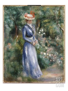 Woman in a Blue Dress Standing in the Garden at Saint-Cloud Giclee Print by Pierre-Auguste Renoir at Art.com