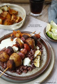 Potato Skewers with Spicy Yogurt Sauce