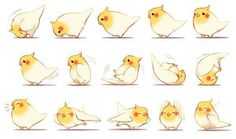 Image uploaded by criscj. Find images and videos about cute, anime and kawaii on We Heart It - the app to get lost in what you love. Cute Animal Drawings, Bird Drawings, Cute Drawings, Drawing Animals, Drawing Faces, Cute Birds, Character Design References, Cute Characters, Creature Design