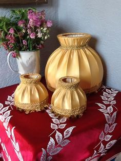Pretty Vintage Duo of Gold Fabric Tasseled Lamp shades #2620 in Home, Furniture & DIY, Lighting, Lampshades &…