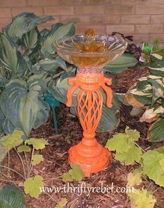 DIY Lamp into Autumn Birdbath :: Hometalk Rusty Garden, Upcycled Garden, Garden Junk, Red Spray Paint, Chandelier Makeover, Outdoor Wall Art, Outdoor Play, Outdoor Spaces, Diy Garden Decor