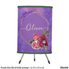 Purple lilac floral batik pomegranate custom name table lamp Purple Accents, Purple Lilac, Linen Lamp Shades, Batik Pattern, Home Decor Online, Watercolor Pattern, Rice Paper, Lamp Design, Pomegranate